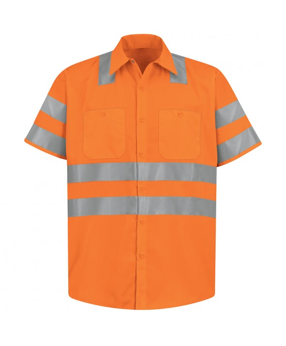 Red Kap SS24OF HiVisibility Work Shirt Class 3 Level 2 - Fluorescent Orange