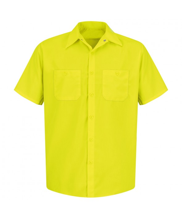 Red Kap SS24YE Enhanced Visibility Work Shirt - Fluorescent Yellow / Green