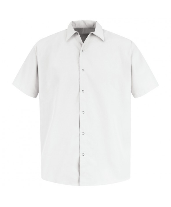 Red Kap SS26WH Mens Specialized Pocketless Polyester Work Shirt - White