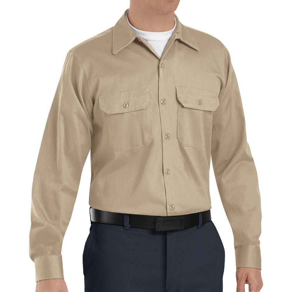 a53893d6 Red Kap SC70KH Mens Deluxe Heavyweight Cotton Shirt - Khaki