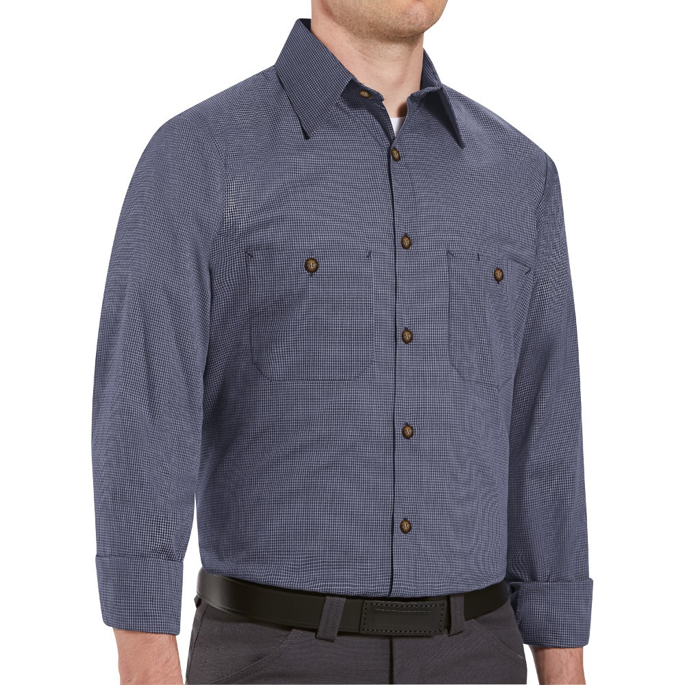 752f9428c5 Red Kap SP10EX Mens MicroCheck Uniform Shirt - Blue   Charcoal Check