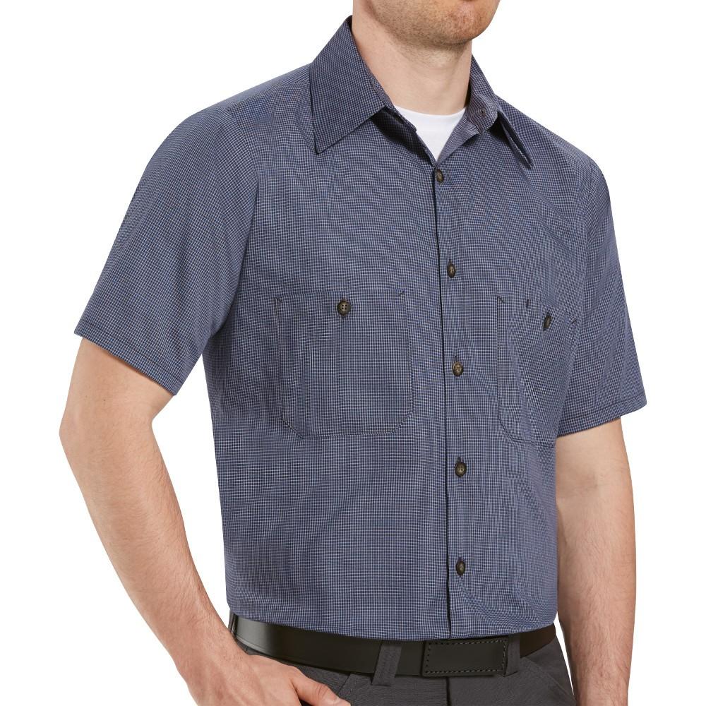 1fc6d0f259 Red Kap SP20HK Mens MicroCheck Uniform Shirt - Hunter   Khaki Check