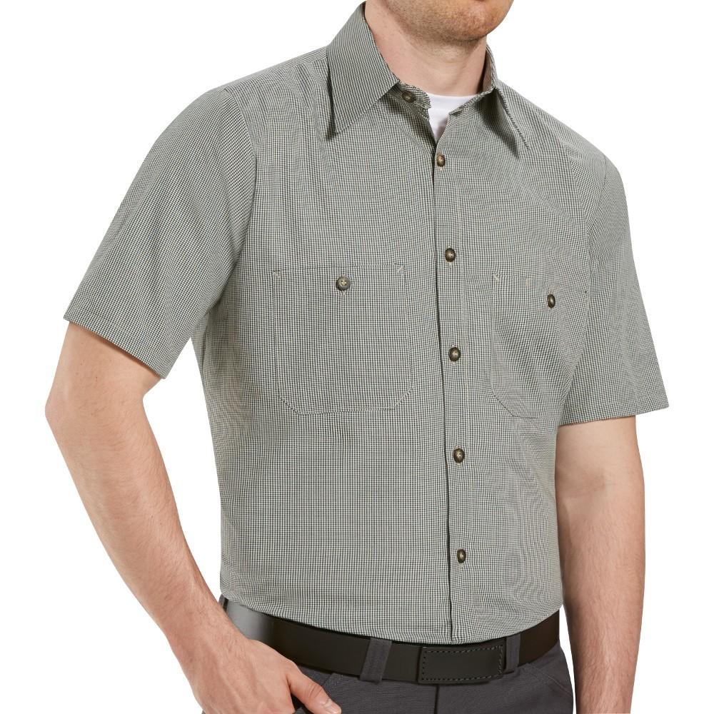 d5659b279b Red Kap SP20KB Mens MicroCheck Uniform Shirt - Khaki   Black Check