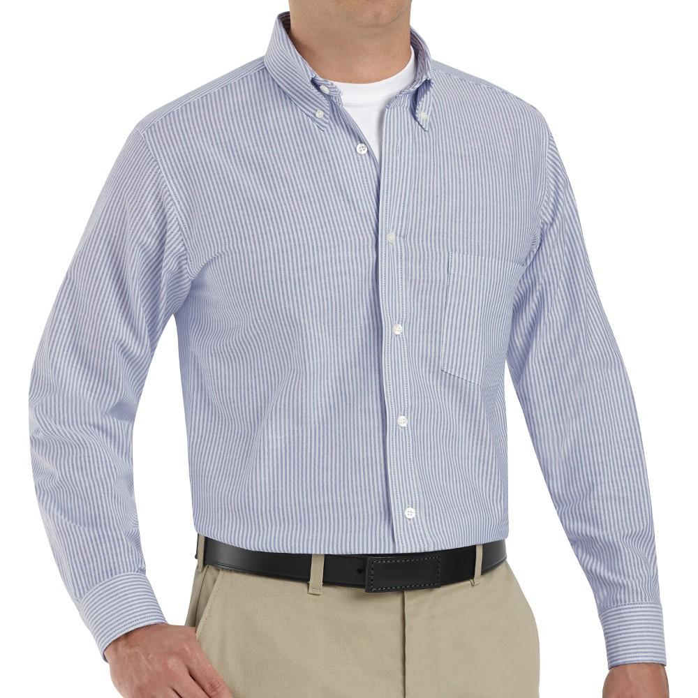 Red Kap Sr70bs Mens Executive Oxford Dress Shirt Blue White Stripe