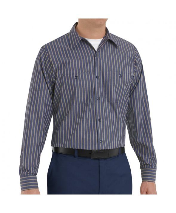 Red Kap SP14KN Mens Industrial Stripe Work Shirt - Navy / Khaki Stripe