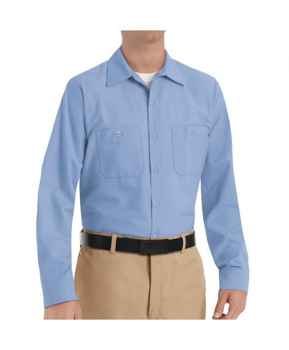 Red Kap SP14LB Mens Industrial Work Shirt - Light Blue