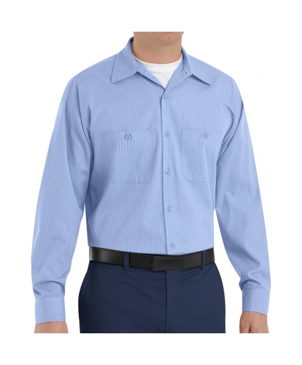 Red Kap SP14ML Mens Durastripe Work Shirt - Medium Blue / Light Blue Twin Stripe