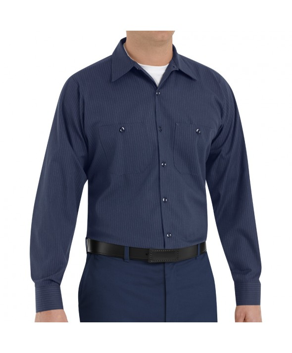 Red Kap SP14NL Mens Durastripe Work Shirt - Navy / Light Blue Twin Stripe