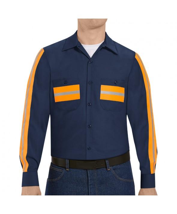 Red Kap SP14ON Enhanced Visibility Shirt - Navy with Orange Visibility Trim