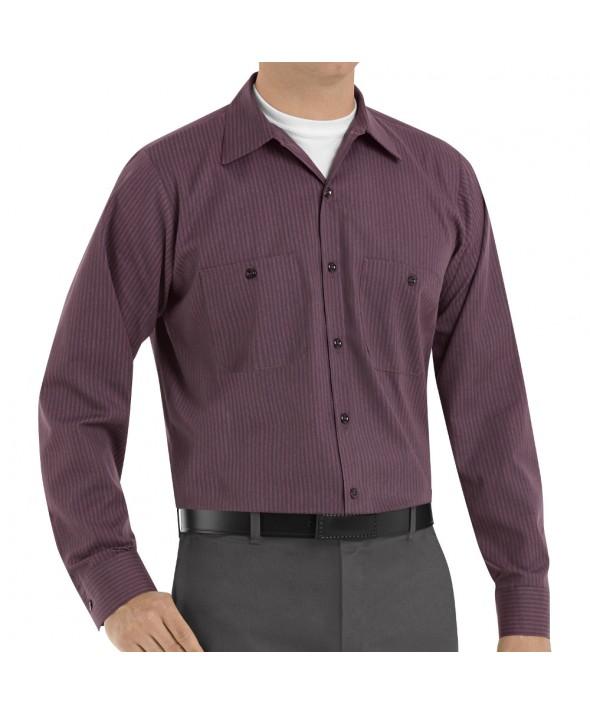 Red Kap SP14RC Mens Durastripe Work Shirt - Charcoal / Red Twin Stripe