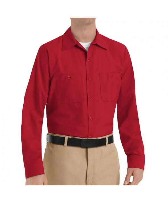 Red Kap SP14RD Mens Industrial Work Shirt - Red