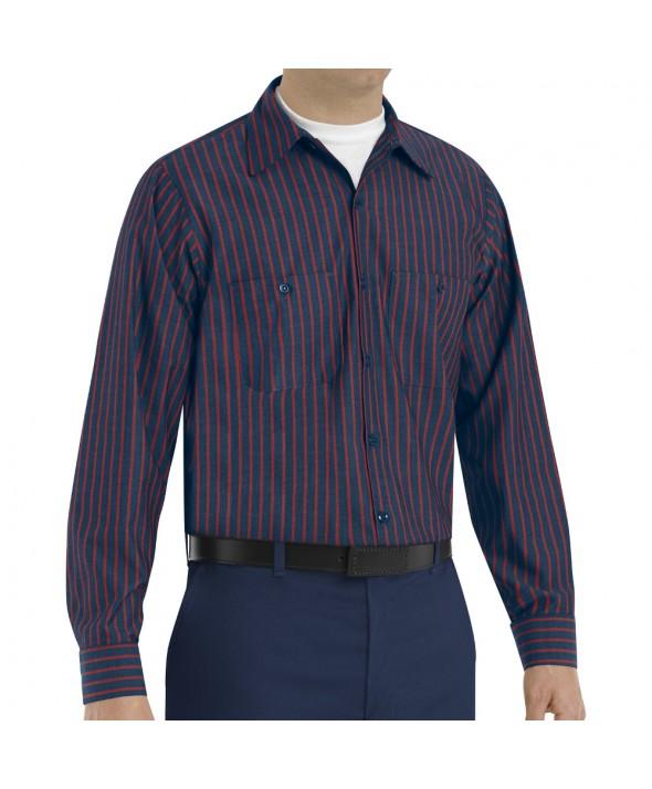 Red Kap SP14RN Mens Industrial Stripe Work Shirt - Navy / Red Stripe