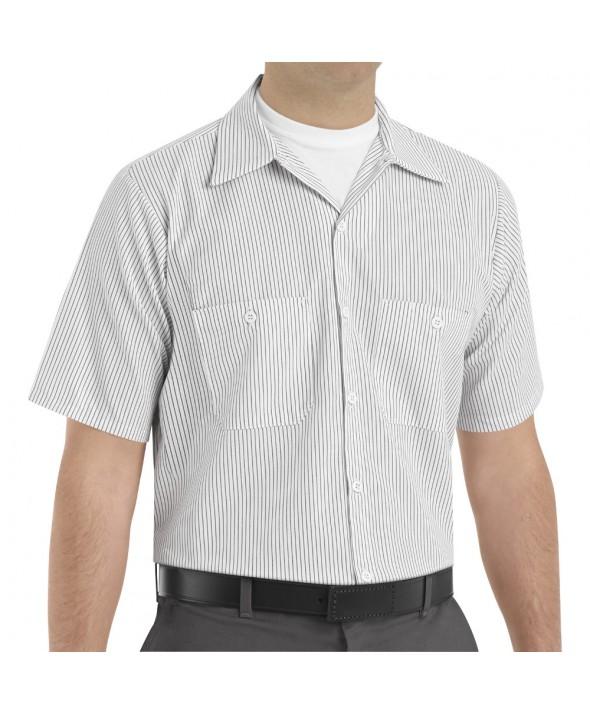 Red Kap SP20CW Mens Industrial Stripe Work Shirt - White / Charcoal Stripe