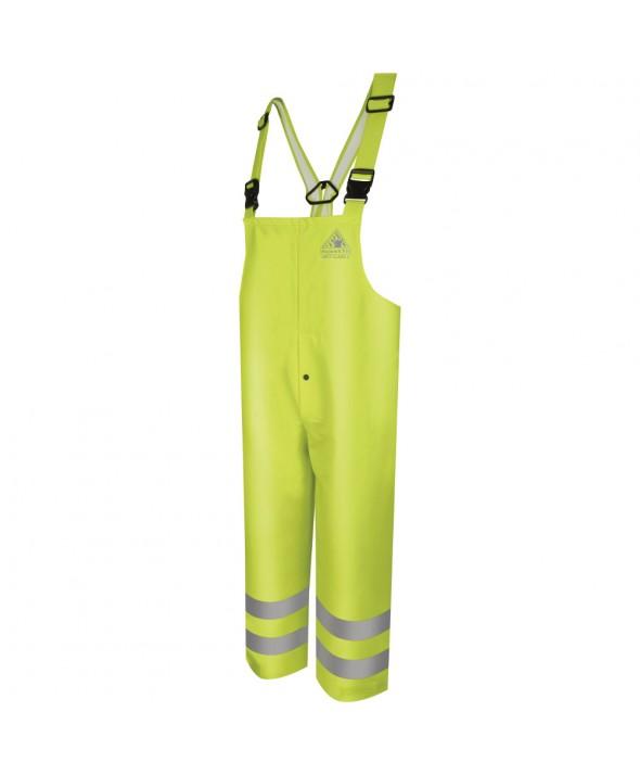 Bulwark BXN4YE HiVisibility FlameResistant Rain Bib Overall CAT2 - Yellow - Green