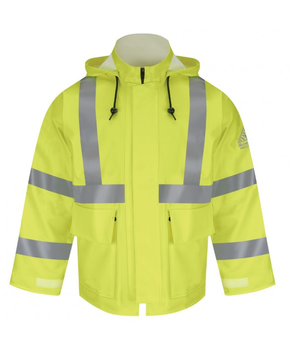 Bulwark JXN4YE HiVisibility FlameResistant Rain Jacket CAT2 - Yellow - Green