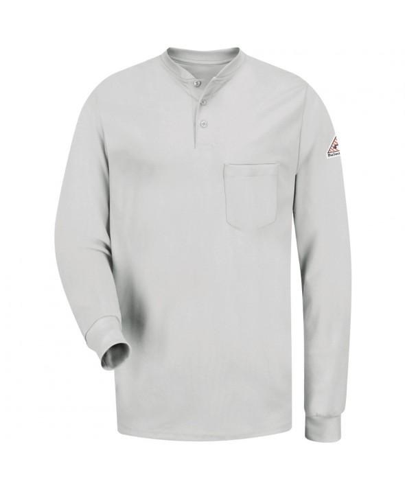 Bulwark SEL2GY Long Sleeve Tagless Henley Shirt EXCEL FR - Grey