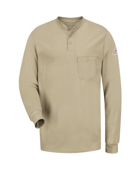 Bulwark SEL2KH Long Sleeve Tagless Henley Shirt EXCEL FR - Khaki