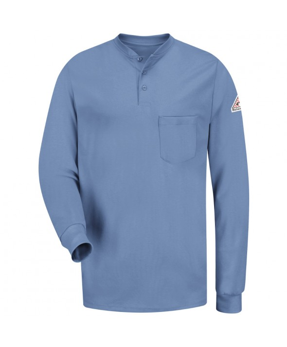 Bulwark SEL2LB Long Sleeve Tagless Henley Shirt EXCEL FR - Light Blue