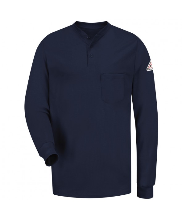 Bulwark SEL2NV Long Sleeve Tagless Henley Shirt EXCEL FR - Navy