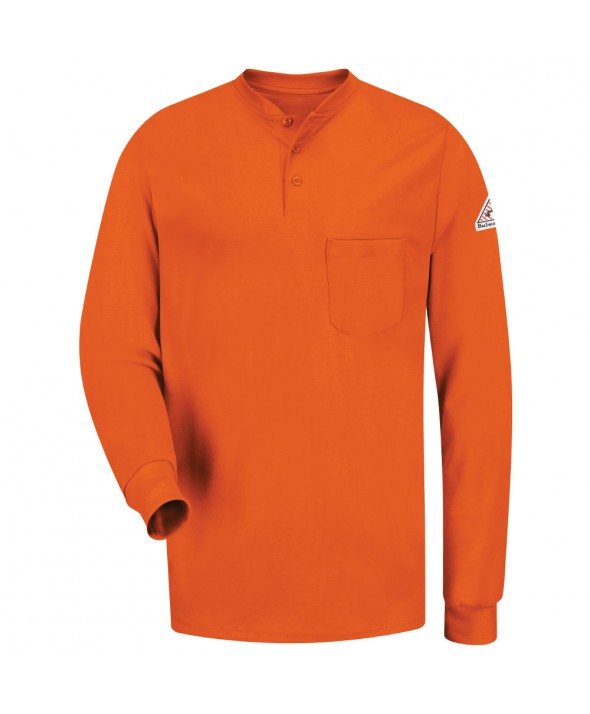 Bulwark SEL2OR Long Sleeve Tagless Henley Shirt EXCEL FR - Orange