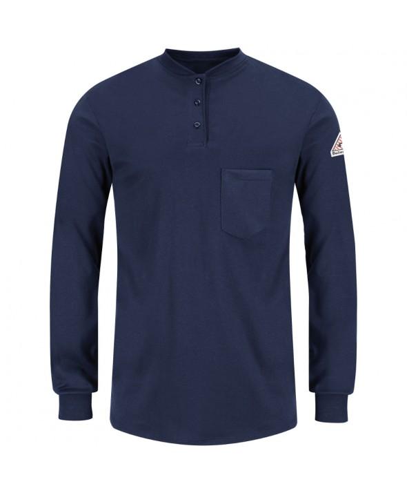 Bulwark SEL3NV Long Sleeve Tagless Henley Shirt EXCEL FR - Navy
