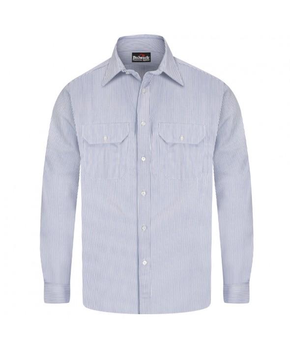 Bulwark SEU2WB Striped Uniform Shirt EXCEL FR 7 oz - White - Blue Stripe