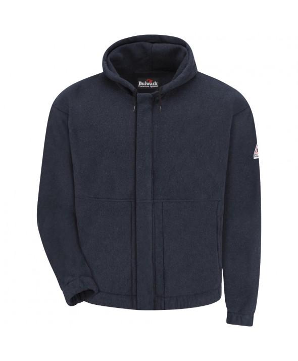 Bulwark SMH6NV Zipfront Hooded Fleece Sweatshirt Modacrylic blend - Navy