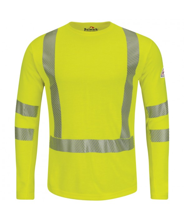 Bulwark SMK2HV HiVisibility FlameResistant Long Sleeve TShirt Power Dry FR - Yellow - Green
