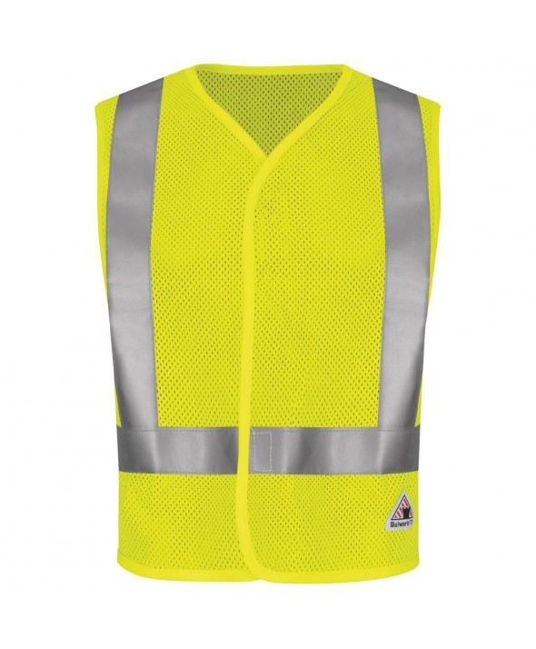 Bulwark VMV8HV HiVisibility FlameResistant Mesh Safety Vest - Yellow - Green