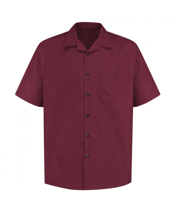 Red Kap 1K00BU Microfiber Convertible Collar Shirt - Burgundy