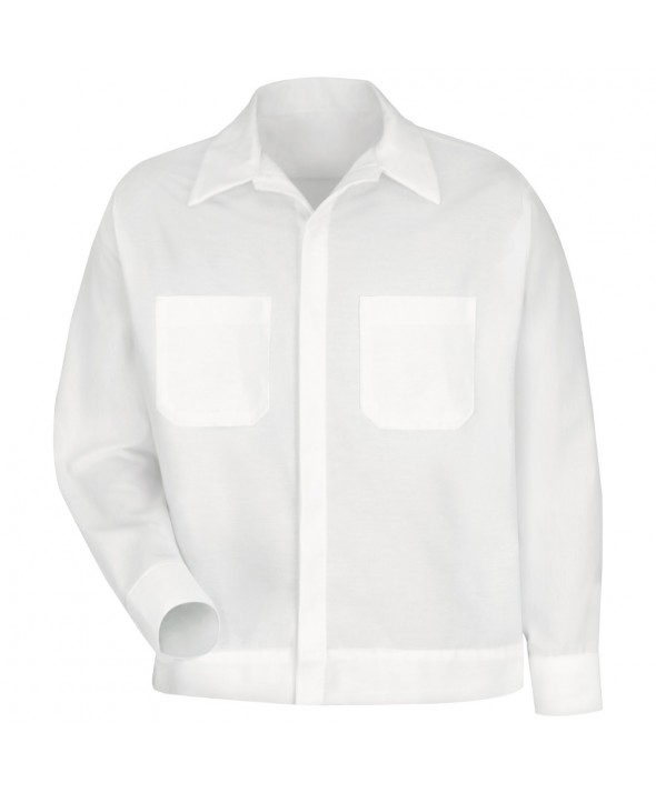 Red Kap SP35WH Mens ButtonFront Shirt Jacket - White