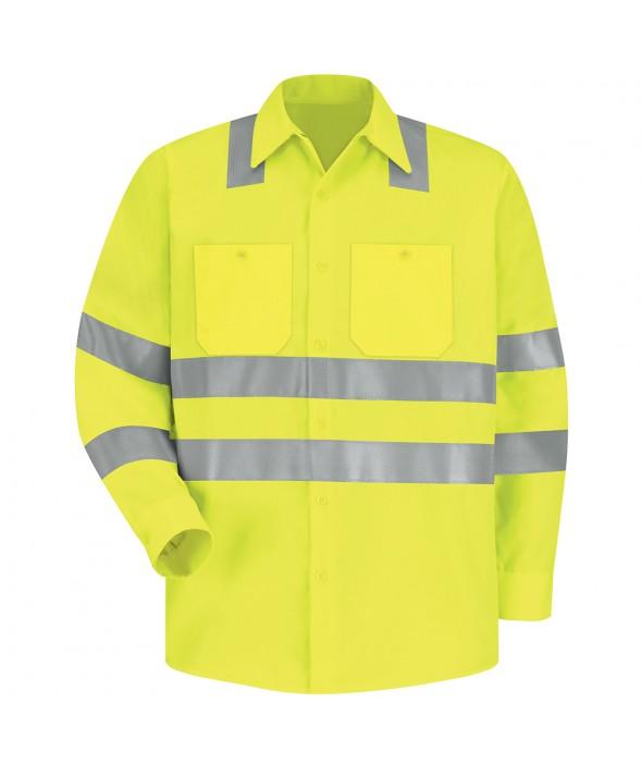 Red Kap SS14AB HiVisibility Work Shirt Class 3 Level 2 - Fluorescent Yellow / Green