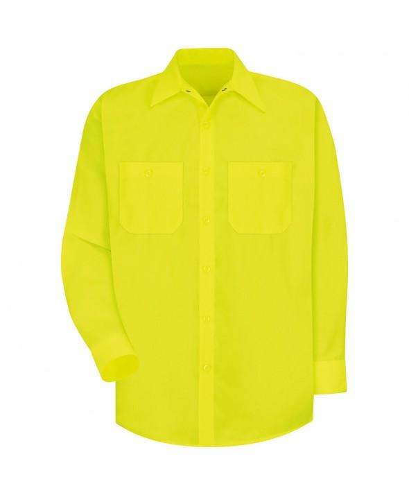 Red Kap SS14YE Enhanced Visibility Work Shirt - Fluorescent Yellow / Green