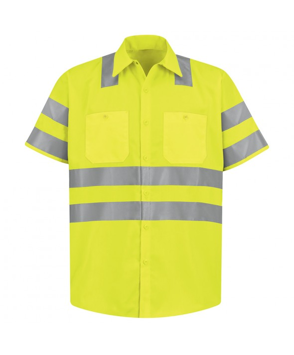 Red Kap SS24AB HiVisibility Work Shirt Class 3 Level 2 - Fluorescent Yellow / Green