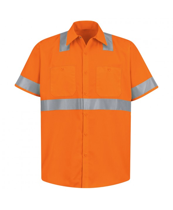 Red Kap SS24O2 HiVisibility Work Shirt Class 2 Level 2 - Fluorescent Orange