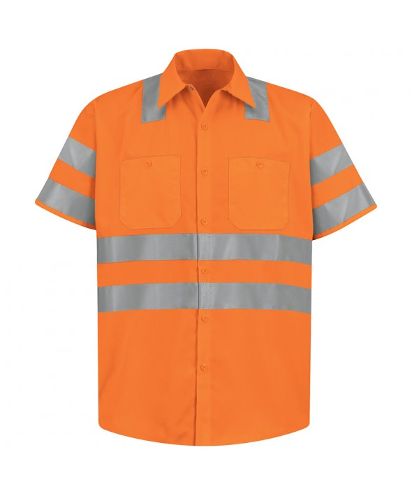 Red Kap SS24OO HiVisibility Work Shirt Class 3 Level 2 X Striping Configuration - Fluorescent Orange