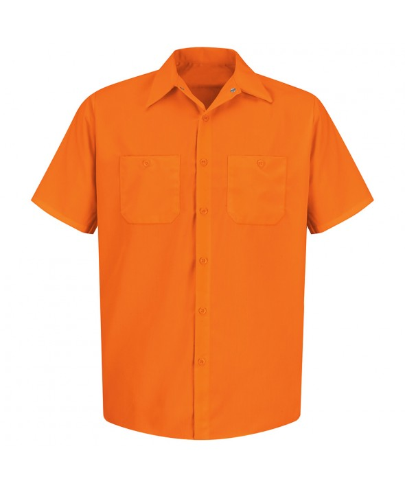 Red Kap SS24OR Enhanced Visibility Work Shirt - Fluorescent Orange