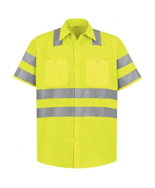 Red Kap SS24SB HiVisibility Work Shirt Class 3 Level 2 X Striping Configuration - Fluorescent Yellow / Green